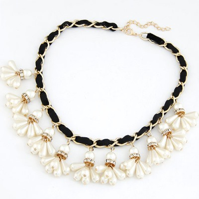 Mechanic Black Pearl Weave Pendant Design Alloy Bib Necklaces