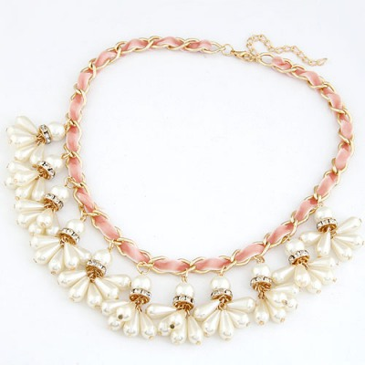 Double Pink Pearl Weave Pendant Design Alloy Bib Necklaces