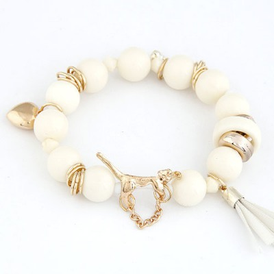American White Leopard Decorated Design Alloy Korean Fashion Bracelet