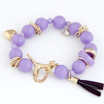 Mini Purple Leopard Decorated Design Alloy Korean Fashion Bracelet