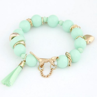 Portable Light Green Leopard Decorated Design Alloy Korean Fashion Bracelet