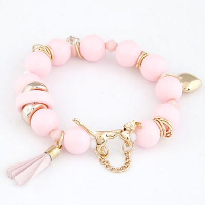 Aquamarine Light Pink Leopard Decorated Design Alloy Korean Fashion Bracelet