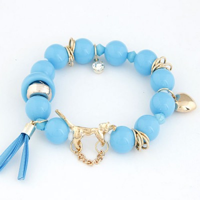 Ladies Blue Leopard Decorated Design Alloy Korean Fashion Bracelet