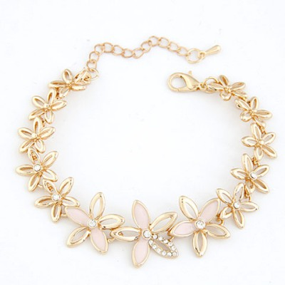 Wonderful Pink Hollow Out Flower Decorated Design Alloy Korean Fashion Bracelet