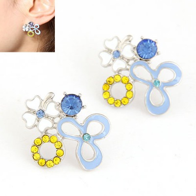 Sweet Blue Various Geometric Shape Matching Design Alloy Stud Earrings