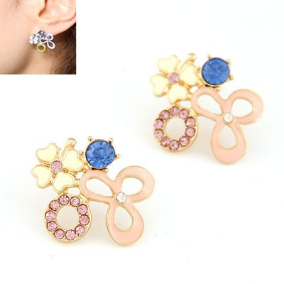 Top Rated Pink Various Geometric Shape Matching Design Alloy Stud Earrings