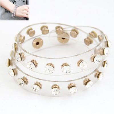 22K White Diamond Decorated Two Layers Design Alloy Korean Fashion Bracelet