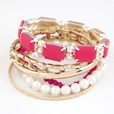 Butterfly Plum Red Gemstone Decorated Multilayer Design Alloy Fashion Bangles