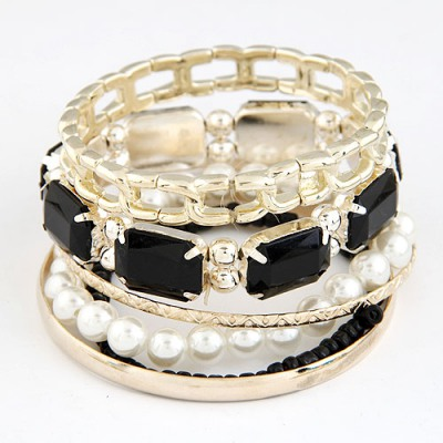 Flip Black Gemstone Decorated Multilayer Design Alloy Fashion Bangles