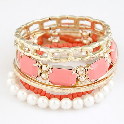 Diy Light Watermelon Red Gemstone Decorated Multilayer Design Alloy Fashion Bangles