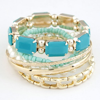 Flip Green Gemstone Decorated Multilayer Design Alloy Fashion Bangles