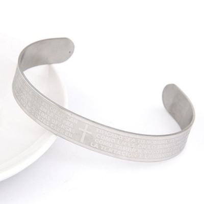 Eco Sliver Cross The Scriptures Pattern Opening Design Alloy Fashion Bangles