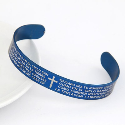 Buckle Blue Cross The Scriptures Pattern Opening Design Alloy Fashion Bangles