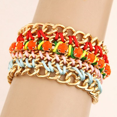 Layered Multicolor Multilayer Weaving Wide Design Alloy Fashion Bracelets