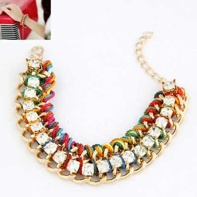 Carters Multicolor Diamond Decorated Chain Design Alloy Korean Fashion Bracelet
