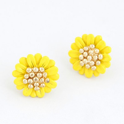 Lilac Yellow Chrysanthemum Shape Design Alloy Stud Earrings