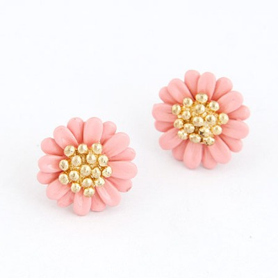 Tall Pink Chrysanthemum Shape Design Alloy Stud Earrings