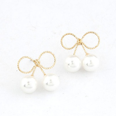 Varsity White Two Pearls Decorated Bowknot Design Alloy Stud Earrings