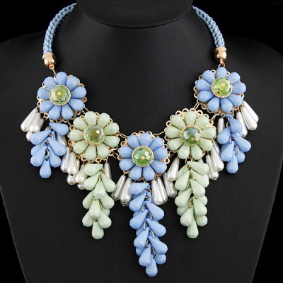 Boxed Multicolor Flowers Decorated Alloy Bib Necklaces