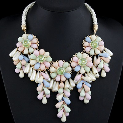 Kids Multicolor Flowers Decorated Alloy Bib Necklaces