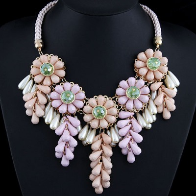Avalon Multicolor Flowers Decorated Alloy Bib Necklaces