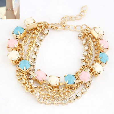 Classical Multicolor Multilayer Chains Diamond Decorated Alloy Korean Fashion Bracelet