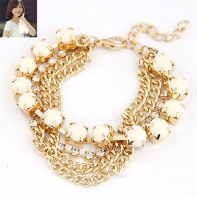 Security Beige Multilayer Chains Diamond Decorated Alloy Korean Fashion Bracelet