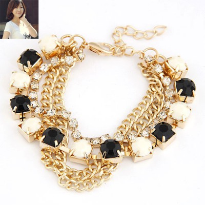 American Black and Beige Multilayer Chains Diamond Decorated Alloy Korean Fashion Bracelet