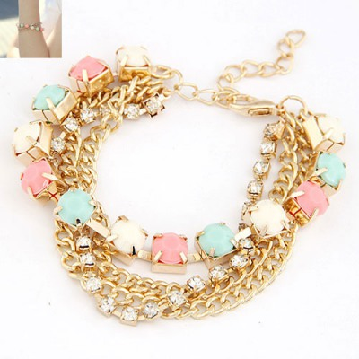 Named Multicolor Multilayer Chains Diamond Decorated Alloy Korean Fashion Bracelet
