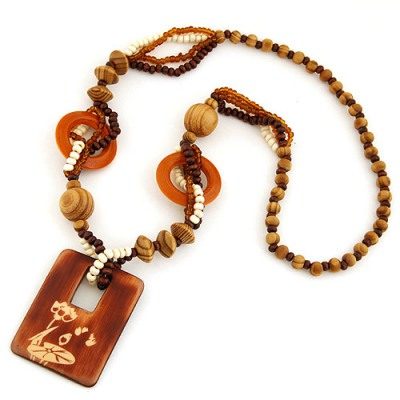 Nice Coffee Rectangle Shape Pendant Wood Beaded Necklaces