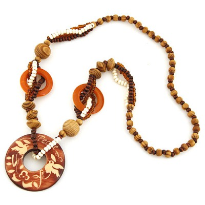 Rhinestone Coffee Round Shape Pendant Wood Beaded Necklaces