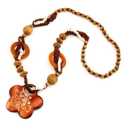 Concealed Coffee Flower Shape Pendant Wood Beaded Necklaces