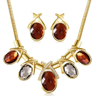 Sling Gold Color Luxury Gemstone Decorated Design Alloy Jewelry Sets