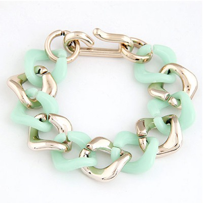 Seamless Light Green double color chain design CCB Korean Fashion Bracelet