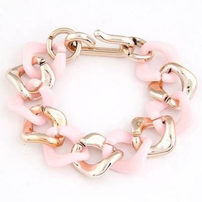 Recycled Pink double color chain design CCB Korean Fashion Bracelet