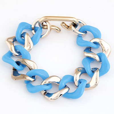 Packaging Blue double color chain design CCB Korean Fashion Bracelet