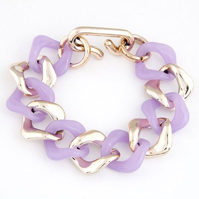 Vellum Purple double color chain design CCB Korean Fashion Bracelet