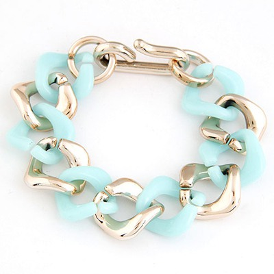 Volcom Light Blue double color chain design CCB Korean Fashion Bracelet