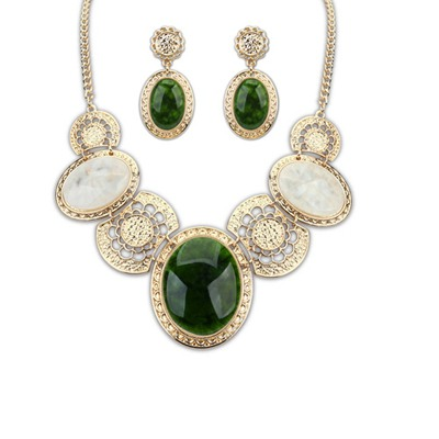 Funky Multicolor Luxury Gemstone Decorared Design Alloy Jewelry Sets