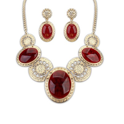 Synthetic Claret-Red Luxury Gemstone Decorared Design Alloy Jewelry Sets
