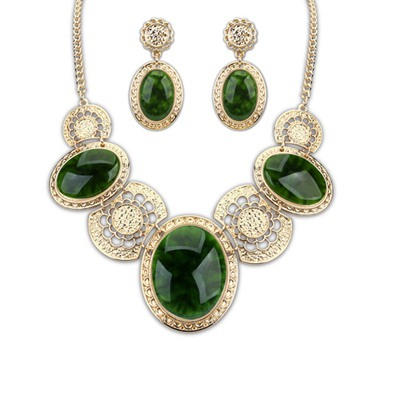 Satchel Dark Green Luxury Gemstone Decorared Design Alloy Jewelry Sets