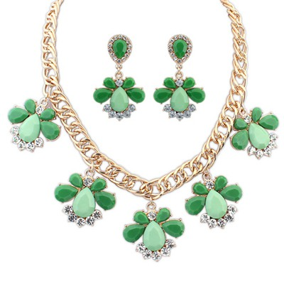 Synthetic Green Geometric Pendant Design Alloy Jewelry Sets