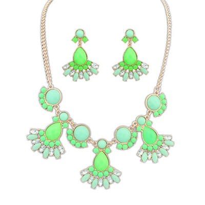 Hiking Green Gemstone Decorated Design Alloy Jewelry Sets