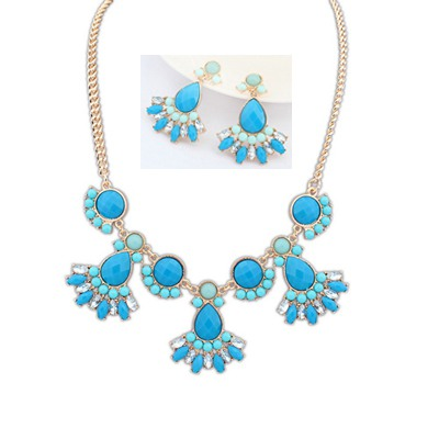 Promotiona Blue Gemstone Decorated Design Alloy Jewelry Sets