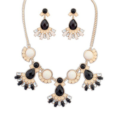 Memorial Black Gemstone Decorated Design Alloy Jewelry Sets
