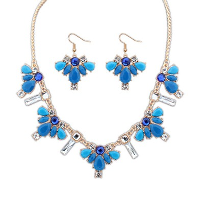 Plated Blue Geometric Pendant Design Alloy Jewelry Sets