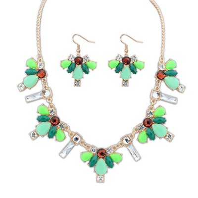 Uniqe Green Geometric Simple Design Alloy Jewelry Sets