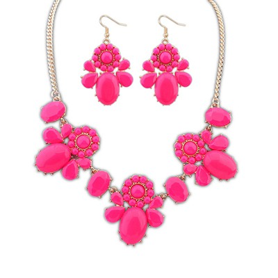 Sapphire Plum Red Sweet Flower Decorated Design Alloy Jewelry Sets