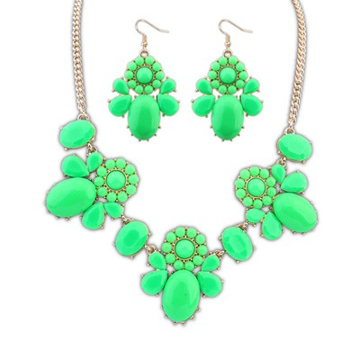 Monogram Green Sweet Flower Decorated Design Alloy Jewelry Sets