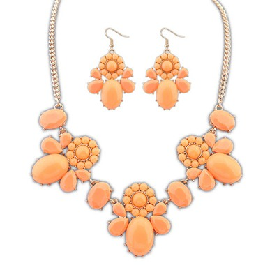 Denim Orange Sweet Flower Decorated Design Alloy Jewelry Sets